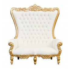 Lazarus Double King Chair - Gold Frame with White Faux Leather