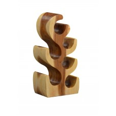 6 Bottle Sculptured Wood Wine Rack