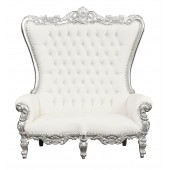 Throne Chair – Silver Lazarus Double Chair - Silver Frame upholstered in Faux White Leather