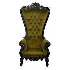 Throne Chair – Lazarus King Chair - Sultry Black Frame Upholstered in Plush Khaki Velvet