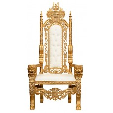 Lion King Throne Chair - Gold Frame with White Faux Leather