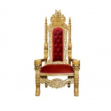 Throne Chair - Lion King - Gold Frame with Wine Red Velvet Upholstery