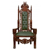 Throne Chair - Lion King - Solid Mahogany Frame Upholstered in Faux Green Leather
