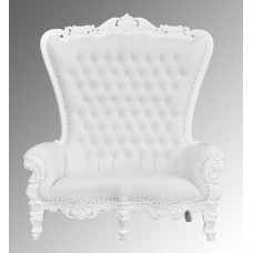 Lazarus Double King Chair - French White Frame with White Faux Leather