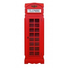 Drinks Cabinet - Iconic BT Telephone Box Style Bar in Pillar Box Red - Mini