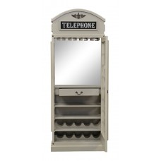 Drinks Cabinet - Iconic BT Telephone Box Style Bar in Stone Grey