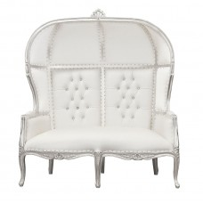 Porters Double Chair - La Dome - Silver Frame and White Faux Leather