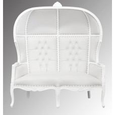 Porters Double Chair - La Dome - French White Frame and White Faux Leather