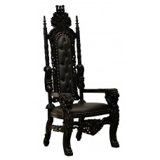 Throne Chair - Lion King - Black Frame Upholstered in Black Faux Leather