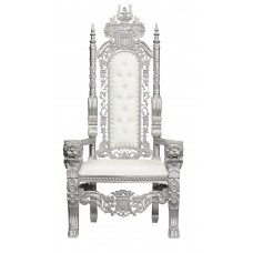 Throne Chair -Silver Frame - Lion King - upholstered in White Faux Leather