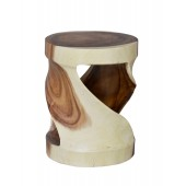 Sculptured Wood Round Stool