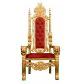 Lion King Throne Chair - Gold Frame with Saddle Red Faux Leather