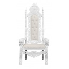 Throne Chair - Silver Frame - Lion King - upholstered in White Faux Leather